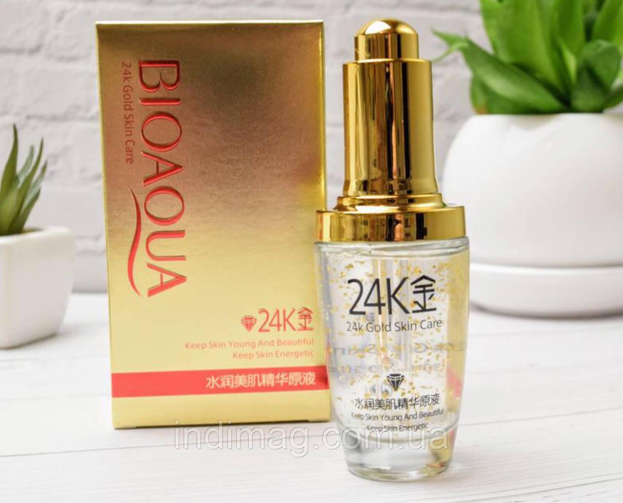 Сыворотка для лица BIOAQUA 24K Gold Skin Care с частицами 24к золота и гиалуроновой кислотой