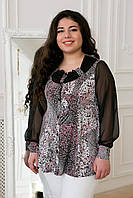 Блуза с шифоновым рукавом в розовый цветок ГАБИ черная, фото 1