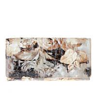 Кошелек Helen Verde 2551-D82 кожаный бежевый с тиснением и цветочным принтом
