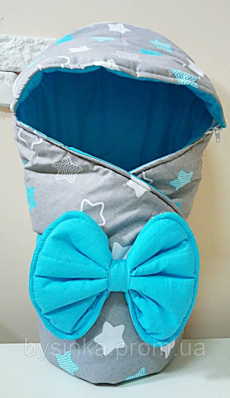 Демисезонный конверт-одеяло с капюшоном для выписки, прогулок в коляске. Бант трансформируется в подушку.