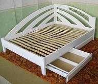 """Деревянная угловая кровать """"Радуга"""", массив - ольха, покрытие - """"белая эмаль"""""""