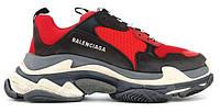 """Женские Кроссовки Balenciaga Triple S """"Black Black"""" - """"Черные Красные"""" (Копия ААА+)"""