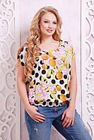 Блуза из штапеля в черный горох МЭГГИ белая, фото 1