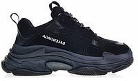 """Кроссовки Balenciaga Triple S """"Black"""" - """"Черные"""" (Копия ААА+)"""
