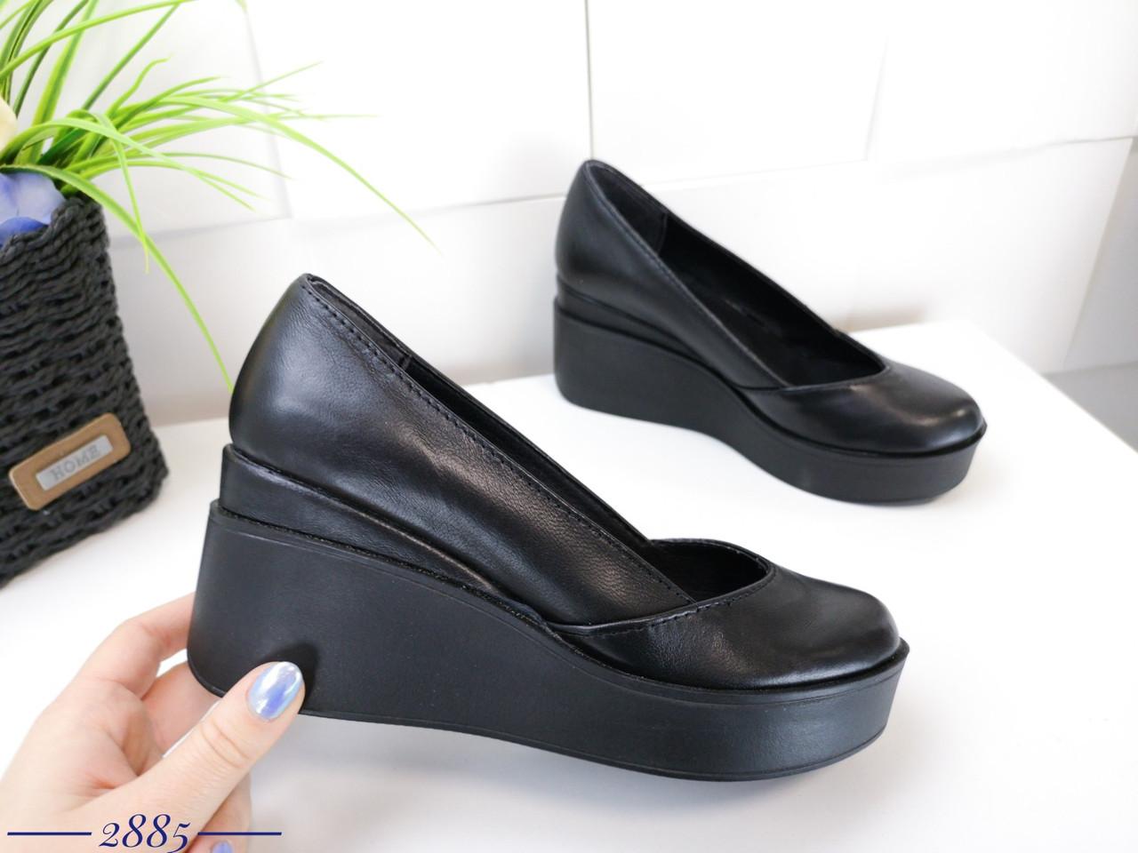 Кожаные туфли на танкетке 36-40 р чёрный
