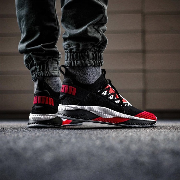 Мужские кроссовки Puma Tsugi Jun Cubism Black/Red (Реплика ААА+)