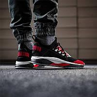 Мужские кроссовки Puma Tsugi Jun Cubism Black/Red (Реплика ААА+), фото 1