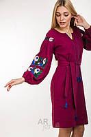 Красивое вышитое платье на льне, три цвета: бордо, молочный, бордо.