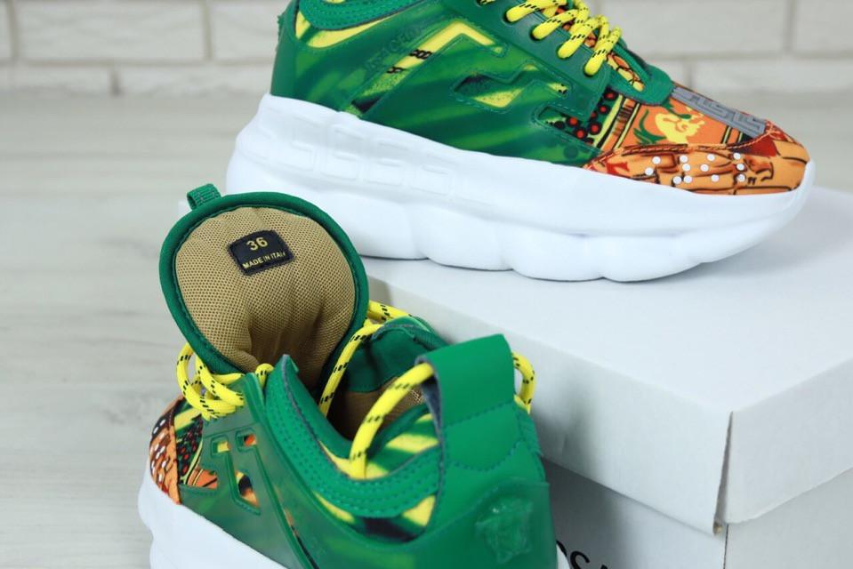 Кроссовки женские Versace Chain Reaction Sneakers реплика ААА+ (нат. замша) р. 36-41 зеленый (живые фото), фото 1