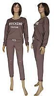 Костюм женский спортивный 18095 Moschino Осень Mokko, кофта и штаны, двухнитка