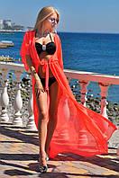 Женская красная шифоновая пляжная туника в пол
