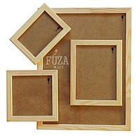 Рамка деревянная 10х15см, ширина 2см, с ДВП, со стеклом, для фото, картин и др.