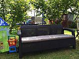 Тримісна софа зі штучного ротангу CORFU LOVE SEAT MAX графіт ( Allibert ), фото 6
