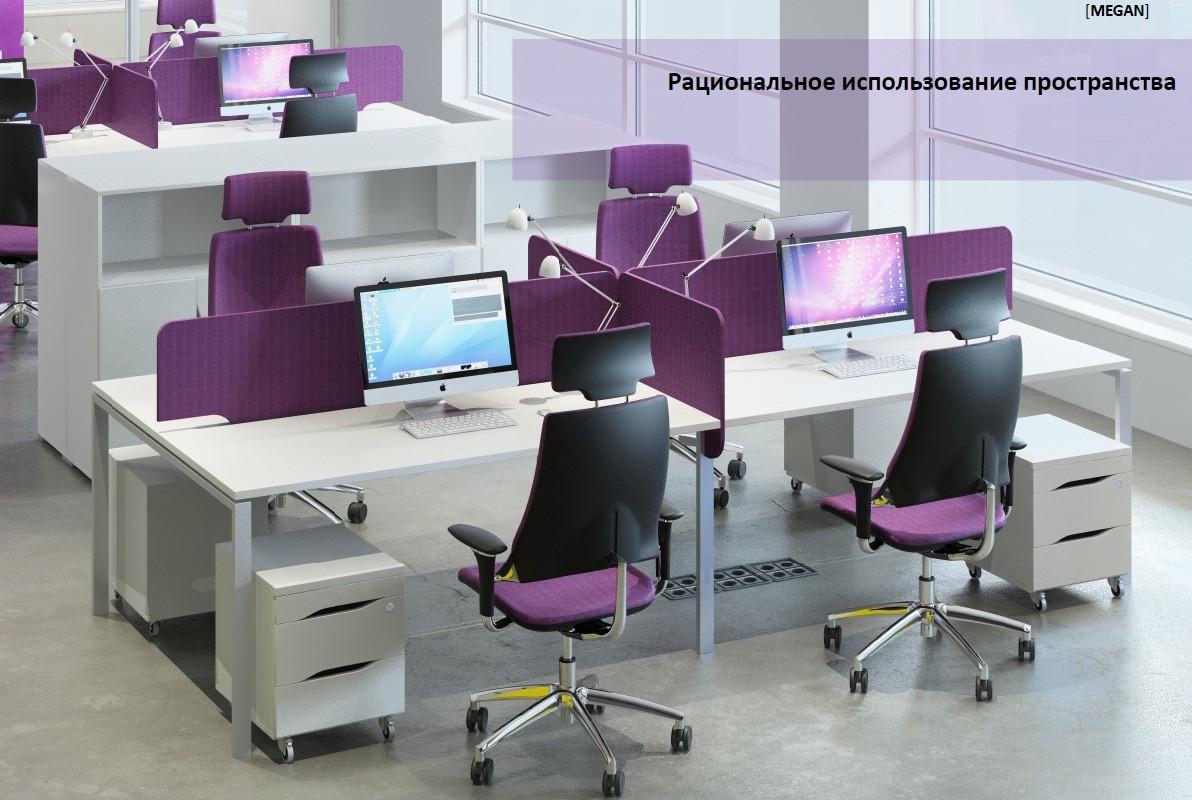 Рабочее место офисных сотрудников с мобильными тумбами М1