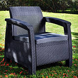 Два комфортних крісла зі штучного ротангу CORFU DUO SET графіт (Allibert), фото 6