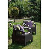 Два комфортних крісла зі штучного ротангу CORFU DUO SET графіт (Allibert), фото 8