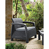 Два комфортних крісла зі штучного ротангу CORFU DUO SET графіт (Allibert), фото 10