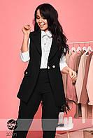 Брючный костюм с жилетом черного цвета. Модель 20771. Размеры 48,50