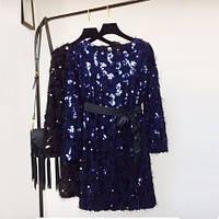 Женское нарядное платье травка с поясом с пайетками синее, фото 1