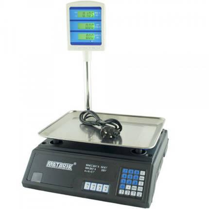 Электровесы со счетчиком цены весы торговые MATRIX MX-411+ 50кг, фото 2
