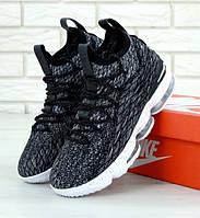 Мужские кроссовки Air Jordan 15 black white. Живое фото (Реплика ААА+), фото 1