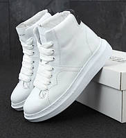 Женские кроссовки Alexander McQueen Hi leather black/white высокие. Живое фото (Реплика ААА+), фото 1