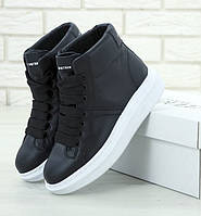 Женские кроссовки Alexander McQueen Hi leather black высокие. Живое фото (Реплика ААА+), фото 1