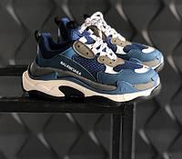 Женские кроссовки Balenciaga Triple S Blue. Живое фото (Реплика ААА+), фото 1