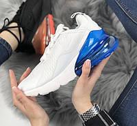 Женские кроссовки Air Max 270 White Blue. Живое фото, фото 1