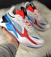 Мужские кроссовки Puma Rs-x Reinvention Cream Red Blue. Живое фото.  (Реплика ААА+), фото 1