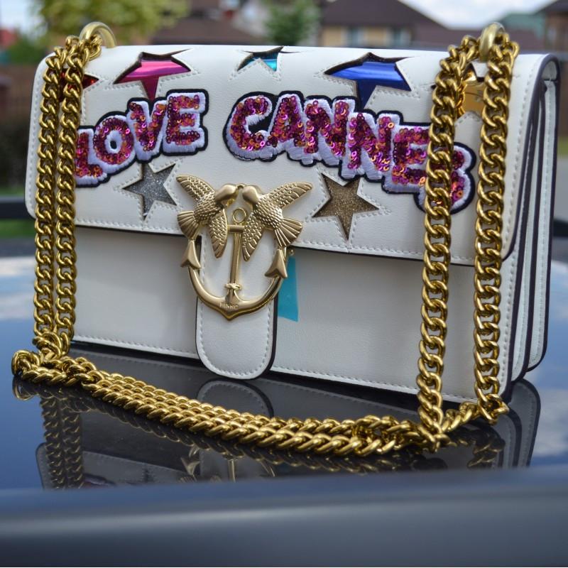 Стильная женская сумочка Pinko с надписью Love Cannes - реплика