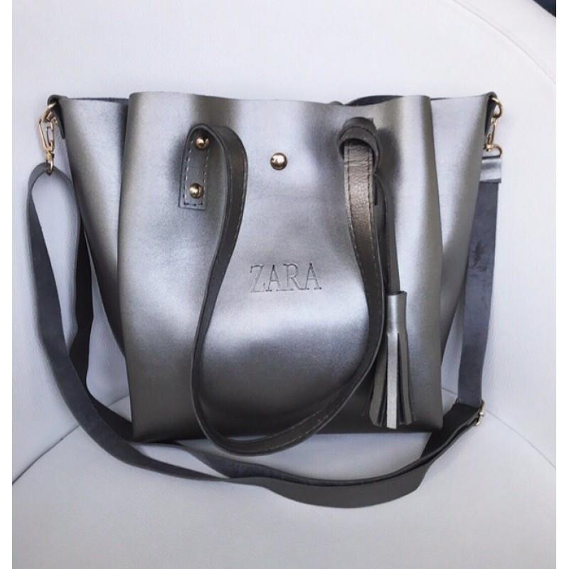 Стильная женская сумочка Zara серебро (реплика)