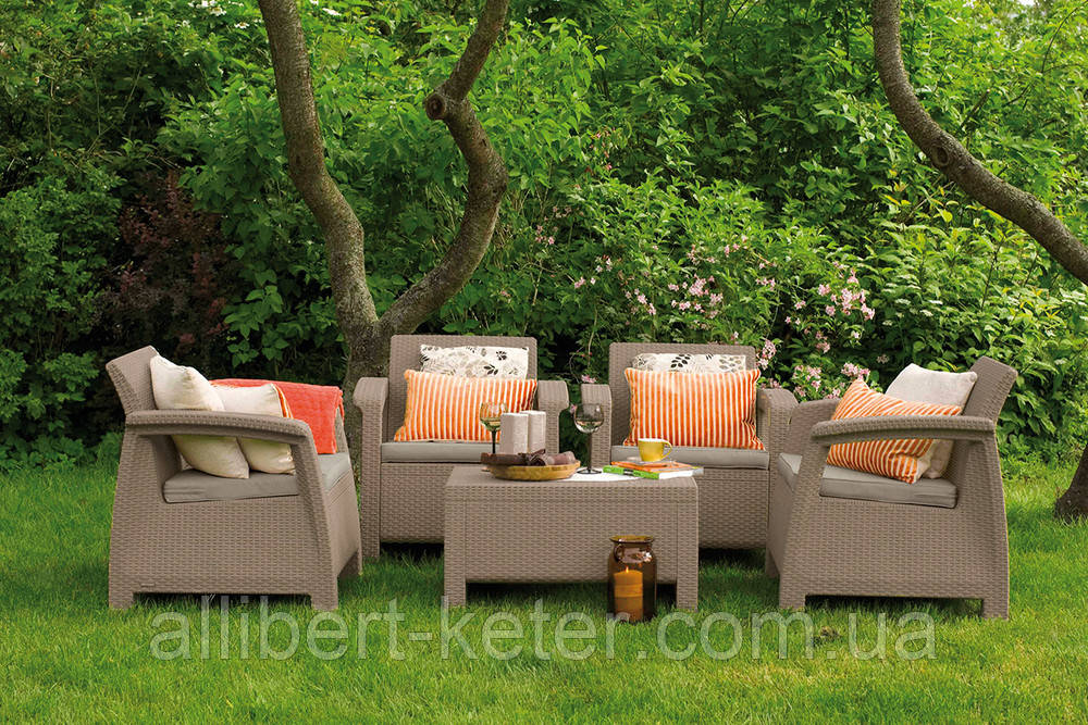 Комплект садових меблів зі штучного ротангу CORFU QUATTRO SET капучіно (Allibert)