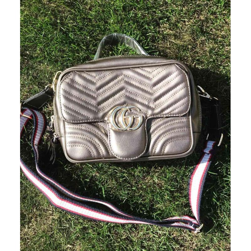 Серая сумочка Gucci Гуччи женская - реплика