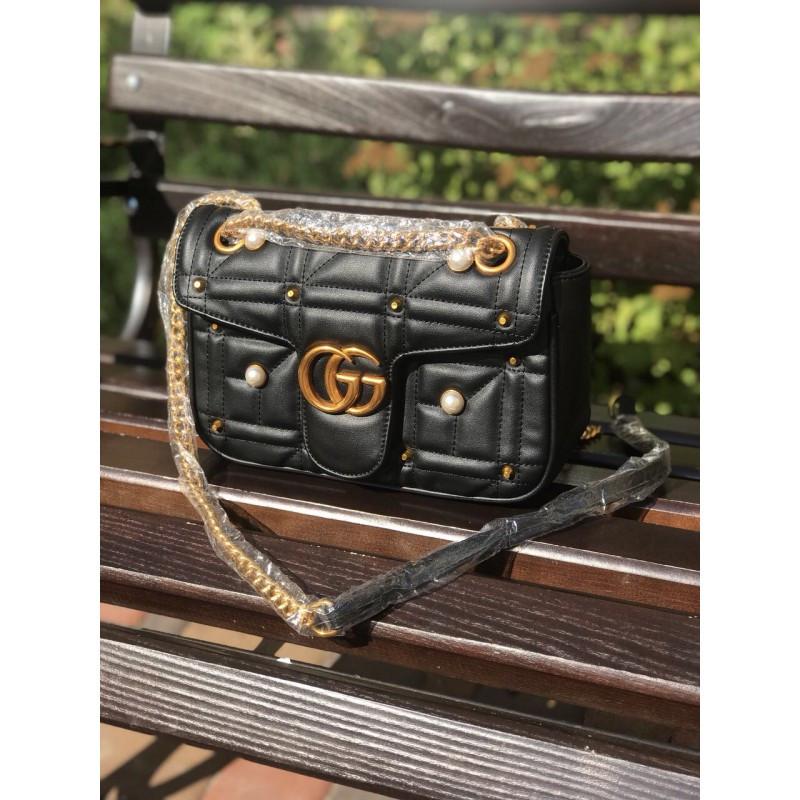 Женская сумочка Gucci черная (мини) - реплика