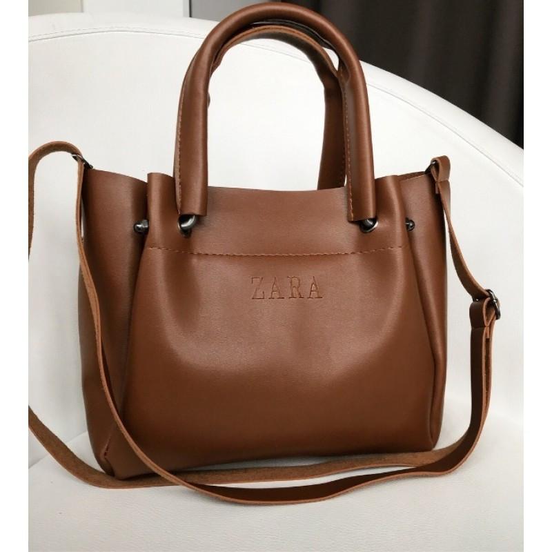Брендовая сумка ZARA / Зара коричневая - реплика