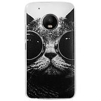 Чехол с рисунком Printed Silicone для Motorola Moto G5 Plus XT1685 Кот в очках
