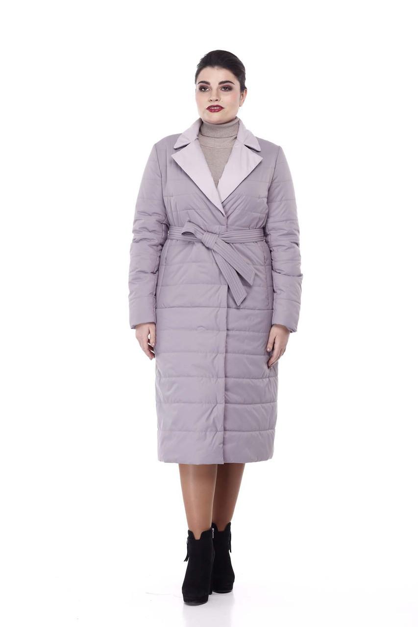 Пальто удлиненное стеганое  демисезонное Серо-лиловый больших размеров 52-56