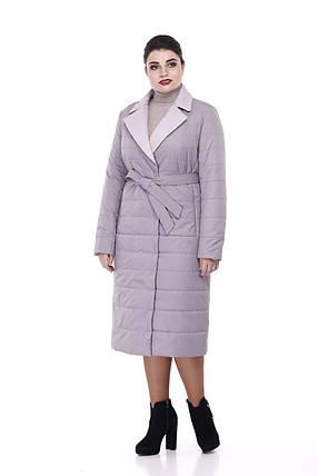Пальто удлиненное стеганое  демисезонное Серо-лиловый больших размеров 52-56, фото 2