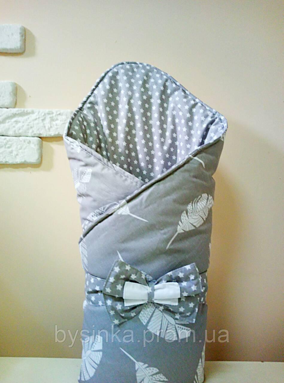 Конверт-одеяло на выписку новорожденного с красивым бантом (демисезонный), 80х90 см