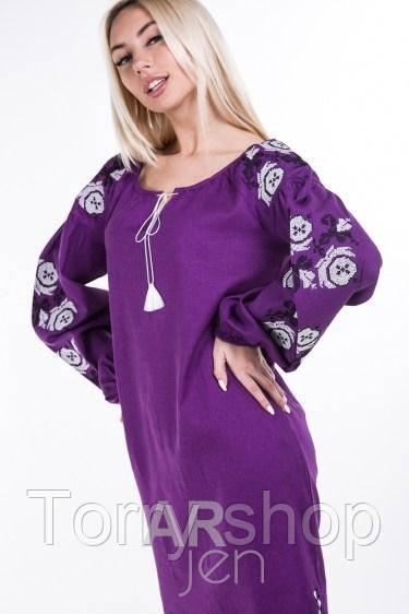6c8b0986992b33b ... фиолет Молодежное платье - вышиванка на льне, цвета: белый, молочный,  синий, фиолет