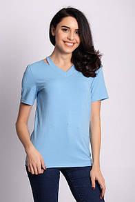 Голубая футболка KARMEN с фигурным вырезом