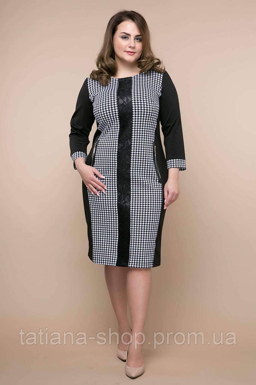 Комбинированное платье из джерси ЛОЛА черное, фото 1