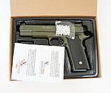 Игрушечный страйкбольный пистолет Galaxy G.20G Browning HP Браунинг ХП зеленый, фото 4