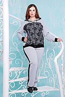 Костюм спортивный  с гипюром НАОМИ серый, фото 1