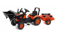 Детский трактор на педалях с прицепом и ковшом Falk 2065AM Kubota от 2 до 5 лет