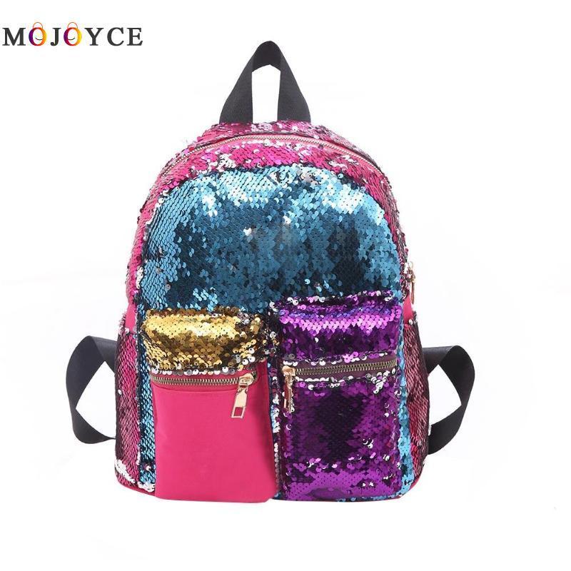 Рюкзак с пайетками школьный для девочки подростка синий.
