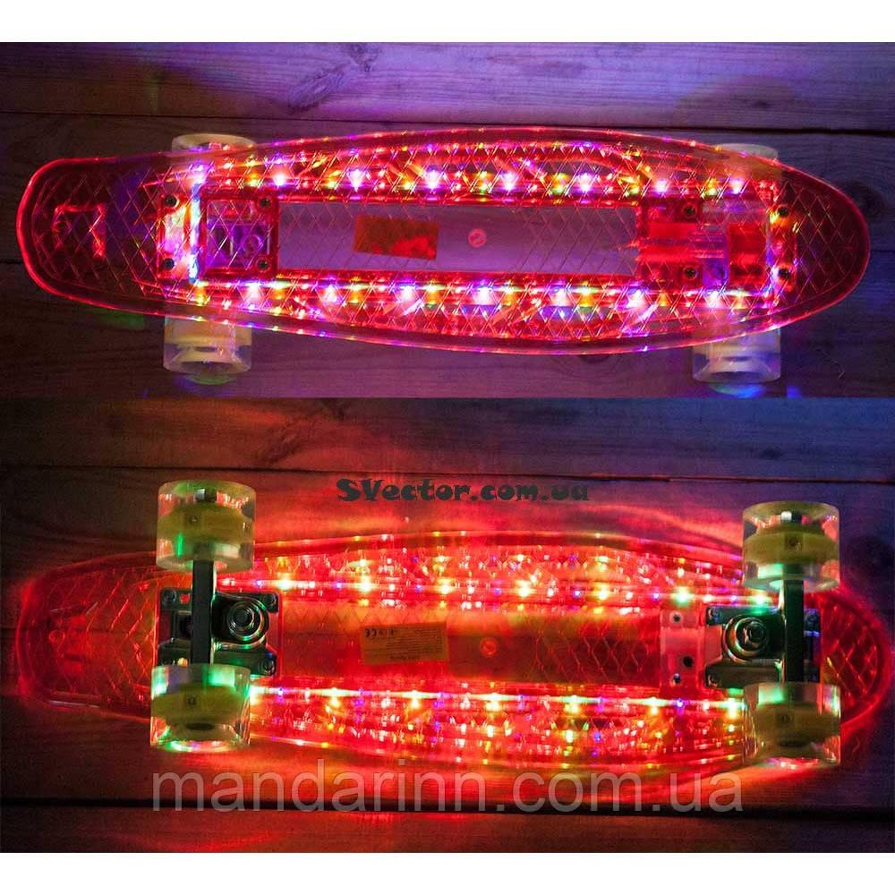 Скейт Пени Борд Красный с МУЗЫКОЙ и с LED-подсветкой и светящимися колесами (музыкальная колонка)