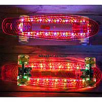Скейт Пени Борд Красный с МУЗЫКОЙ и с LED-подсветкой и светящимися колесами (музыкальная колонка), фото 1