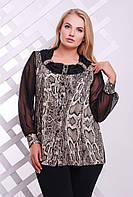 Блуза с шифоновым рукавом принт питон коричневый ГАБИ, фото 1